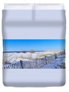 Sea Oats And Fence Along White Sand Duvet Cover