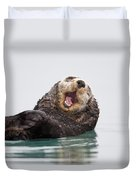 Sea Otter Scratching Head And Yawning Duvet Cover