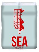 Sea Seattle Airport Poster 1 Duvet Cover by Naxart Studio