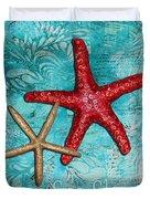 Sea Shore Original Coastal Painting Colorful Starfish Art By Megan Duncanson Duvet Cover