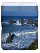Sea Stacks Central Coast Near Rockport California Duvet Cover