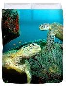 Sea Turtle Oil On Canvas Duvet Cover