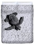 Sea Turtle In Black And White Duvet Cover