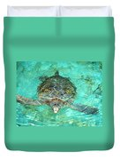 Single Sea Turtle Swimming Through The Water Duvet Cover