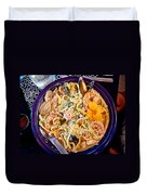 Seafood Fetticinni Alfredo At Cafe Cups Restaurant In Homer-ak   Duvet Cover
