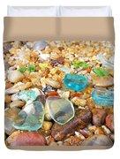 Seaglass Coastal Beach Rock Garden Agates Duvet Cover
