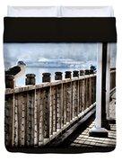 Seagull On The Boardwalk Duvet Cover