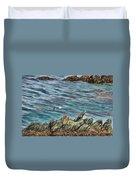 Seagull Over Rocks Duvet Cover