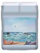 Seagull Over The Ocean Duvet Cover