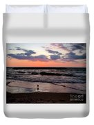 Seagull With Sunset Duvet Cover