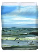 Seagulls At Play Duvet Cover