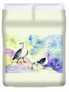 Seagulls In Calpe In Spain Duvet Cover