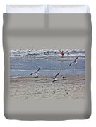 Seagulls On The Beach Duvet Cover