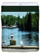 Seagulls On The Pier Duvet Cover