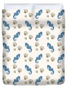 Seahorse And Shells Pattern Duvet Cover