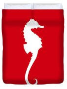 Seahorse In Red And White Duvet Cover