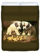 Sealyham Puppies And Ducklings Duvet Cover