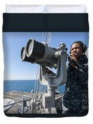 Seaman Stands Lookout Aboard Duvet Cover