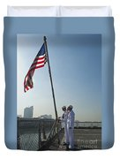 Seamen Participate In Morning Colors Duvet Cover