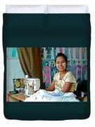 Seamstress At Her Sewing Machine In Tachilek-burma Duvet Cover