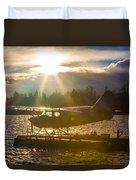 Seaplane Sunset Duvet Cover