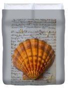 Seashell And Words Duvet Cover