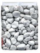 Seashell On White Pebbles Duvet Cover