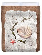 Seashell With Pearls Sea Star And Seaweed  Duvet Cover