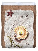 Seashell With The Pearl Sea Star And Seaweed  Duvet Cover
