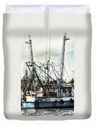 Seasoned Fishing Boat Duvet Cover by Debra Forand