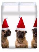 Seasons Greetings Christmas Caroling Pug Dogs Wearing Santa Claus Hats Duvet Cover