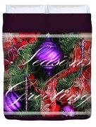 Seasons Greetings - Greeting Card - Purple - Red - Gold Duvet Cover