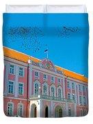Seat Of Parliament In Old Town Tallinn-estonia Duvet Cover