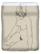 Seated Female Nude, 1918 Duvet Cover