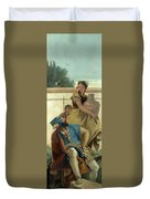 Seated Man Woman With Jar And Boy Duvet Cover