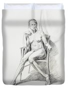 Seated Nude Model Study Duvet Cover