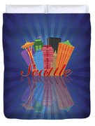Seattle Abstract Skyline Reflection Background Illustration Duvet Cover
