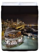 Seattle City Skyline And Marina At Night Duvet Cover