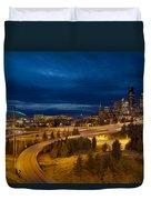 Seattle City Skyline At Blue Hour Duvet Cover