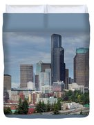 Seattle City Skyline At Rush Hour Duvet Cover