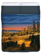 Seattle Cityscape After Sunset Duvet Cover