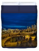Seattle Downtown Skyline And Freeway At Twilight Duvet Cover