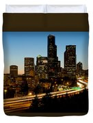 Seattle Downtown Skyline Evening View Duvet Cover