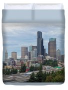 Seattle Downtown Skyline On A Cloudy Day Duvet Cover