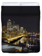 Seattle Downtown Skyline Waterfront Marina Duvet Cover