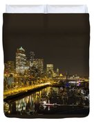 Seattle Downtown Waterfront Skyline At Night Reflection Duvet Cover