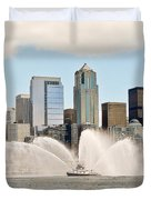 Seattle Downtown With Fireboat Duvet Cover
