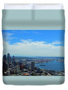 Seattle Harbor And Mt Rainier From Space Needle Duvet Cover