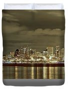 Seattle Lights At Night From Alki Duvet Cover