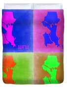 Seattle Pop Art Map 2 Duvet Cover